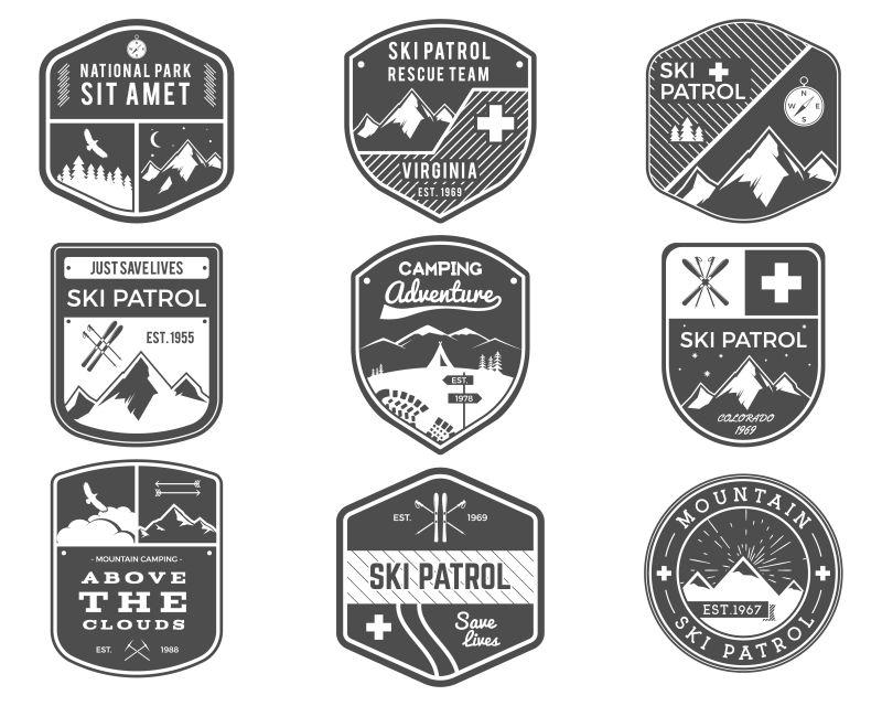 创意矢量灰色户外活动徽章设计