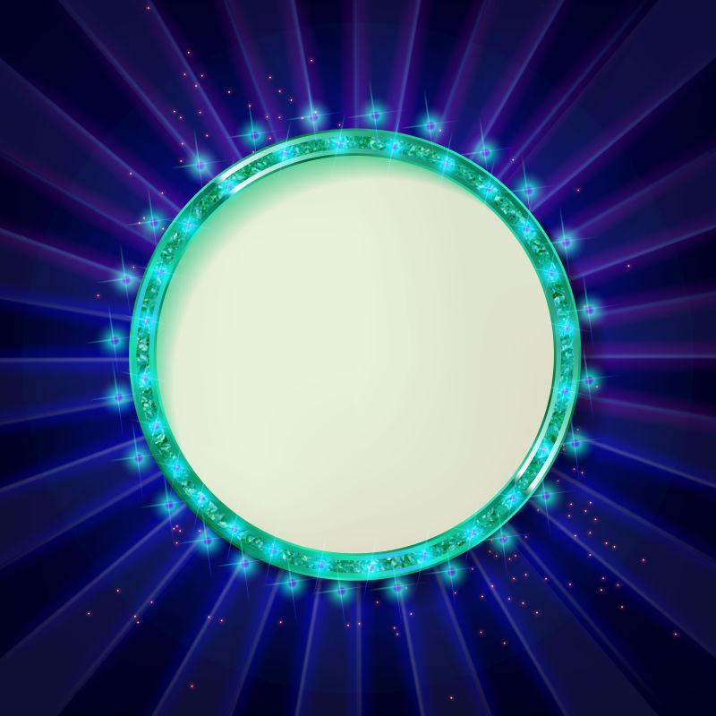 创意的绿色发光边框矢量设计