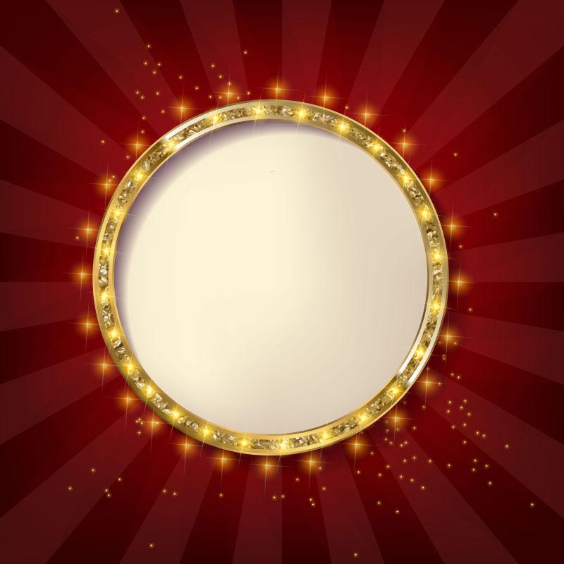 金色的发光圆框矢量设计