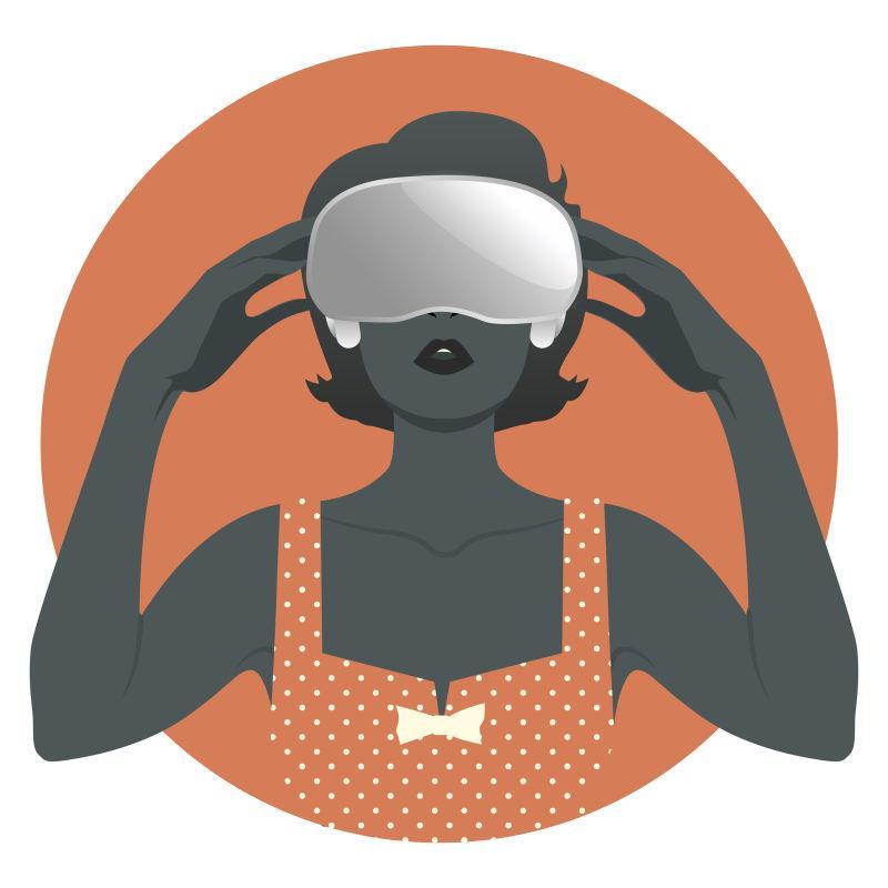 矢量设计戴虚拟眼镜的女人海报