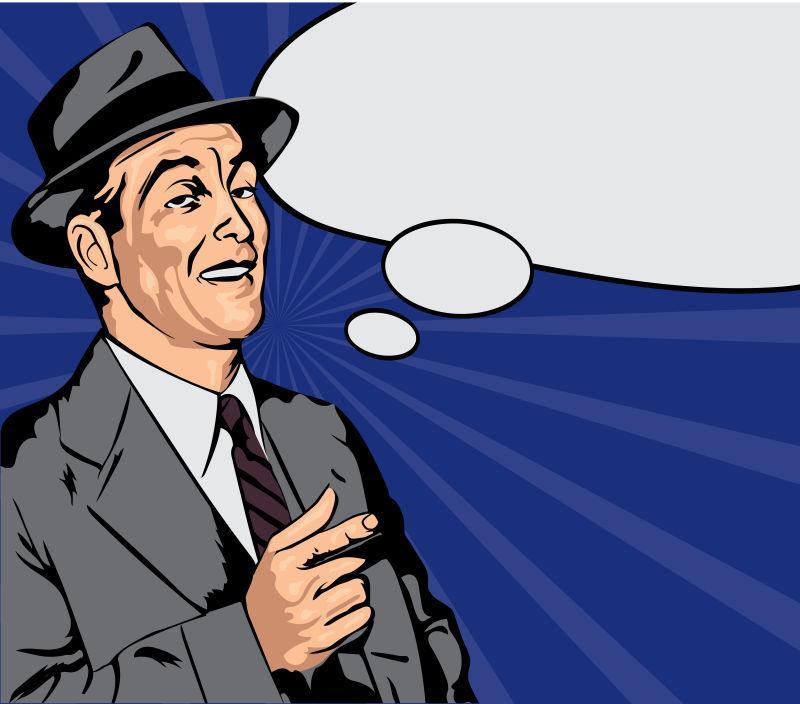 矢量设计带礼帽的男人