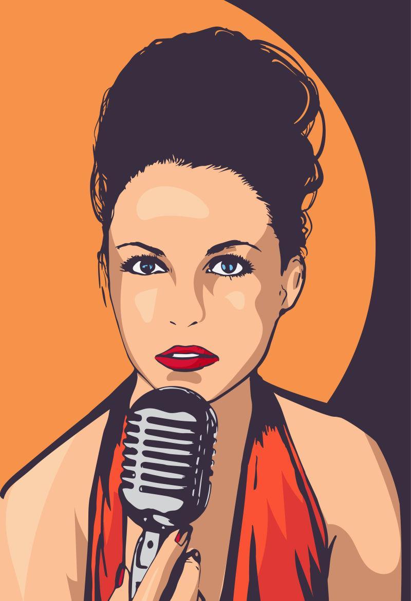 矢量设计女歌手海报