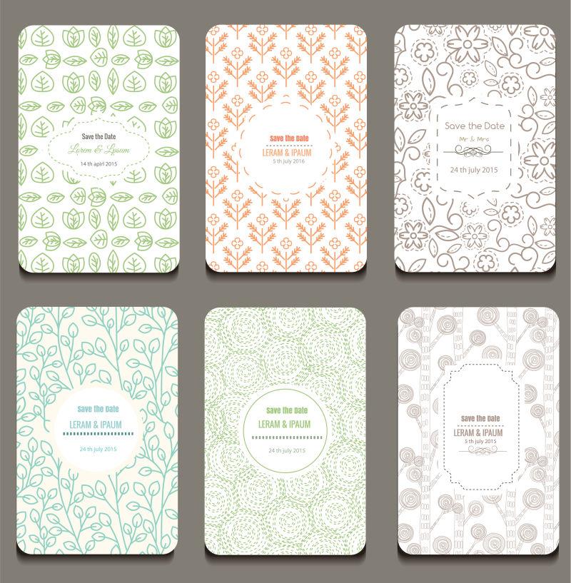 矢量抽象复古花纹装饰的卡片平面设计