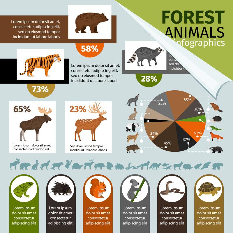 创意矢量动物元素的信息图设计
