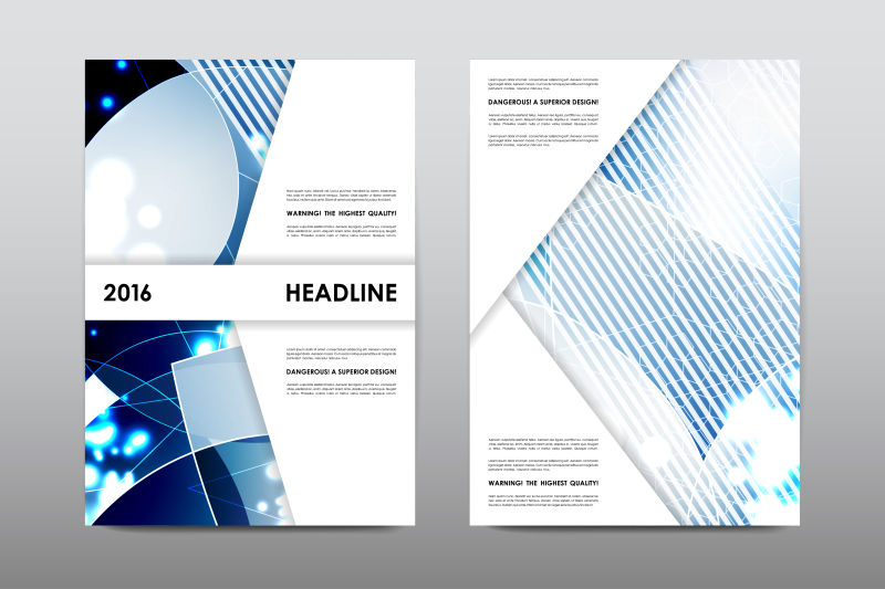 创意矢量蓝色现代抽象宣传册平面设计