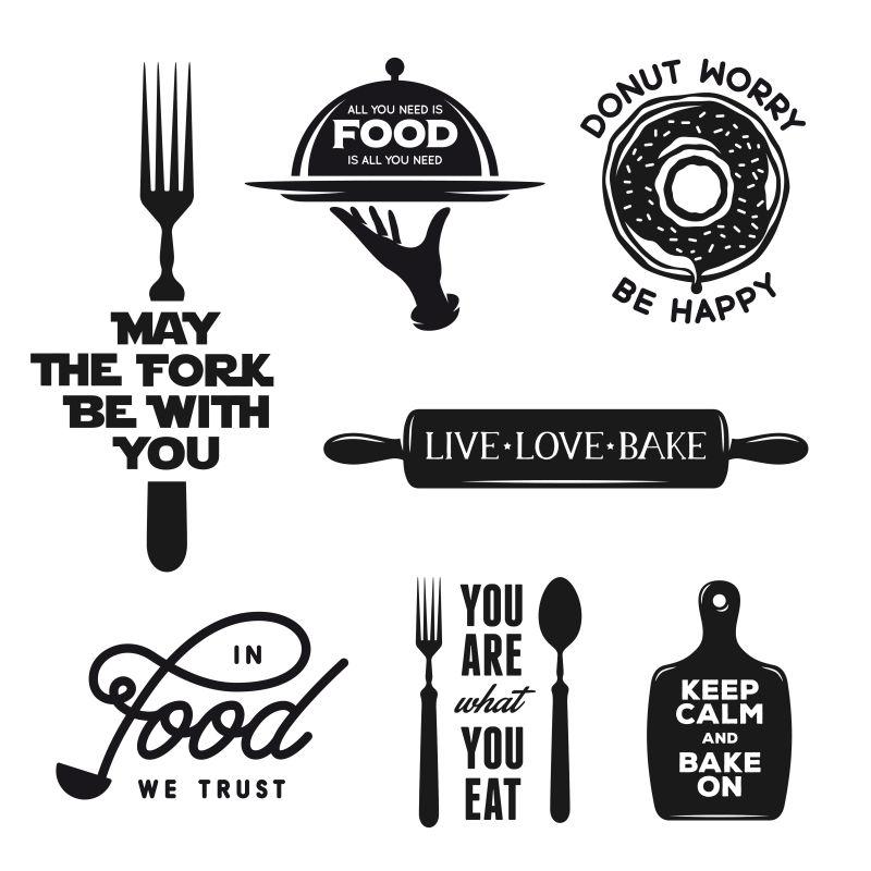 食品相关排版集。关于烹饪的引文。古董矢量插图。
