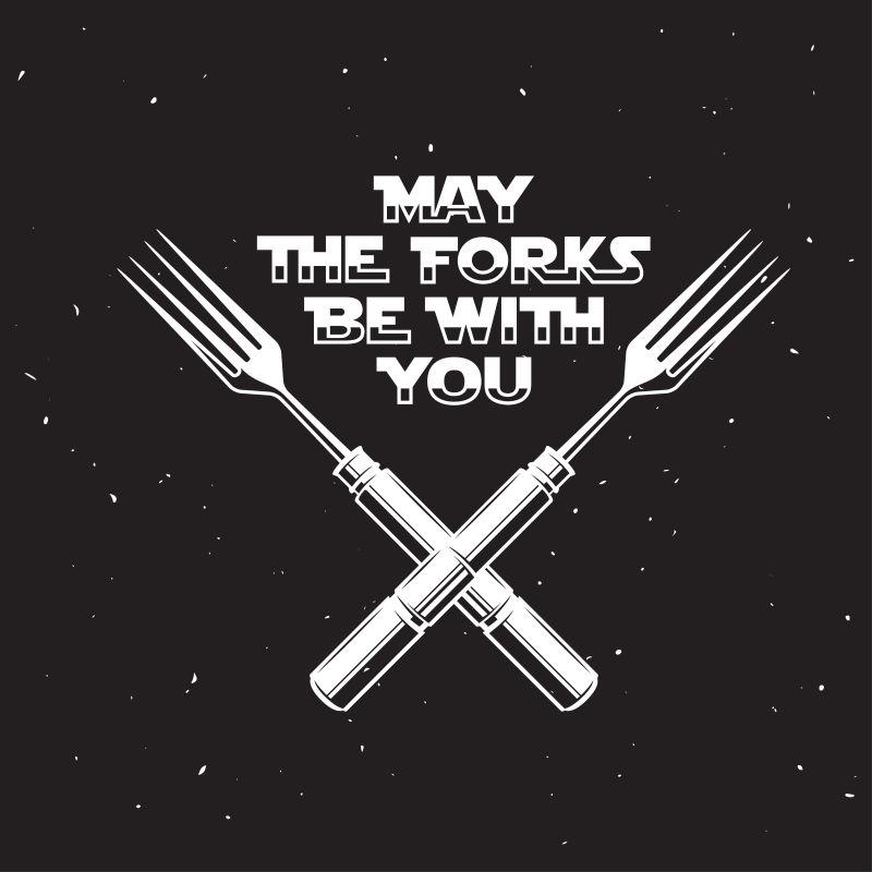 愿餐叉与厨房和烹饪有关的海报。矢量古董插图。