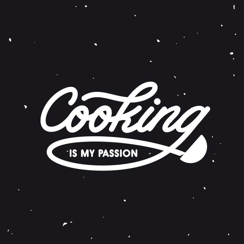 烹饪是我的激情海报海报。矢量古董插图。