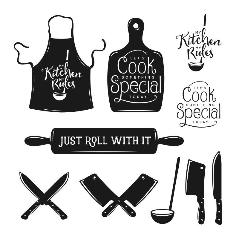 厨房相关排版。关于烹饪的引文。古董矢量插图。