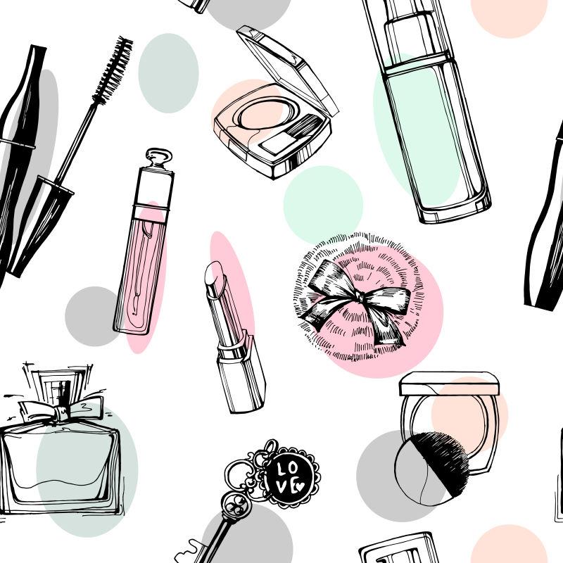 抽象矢量彩色化妆品元素的无缝背景设计