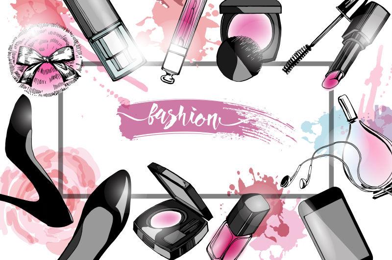 抽象矢量化妆品元素的时尚背景设计