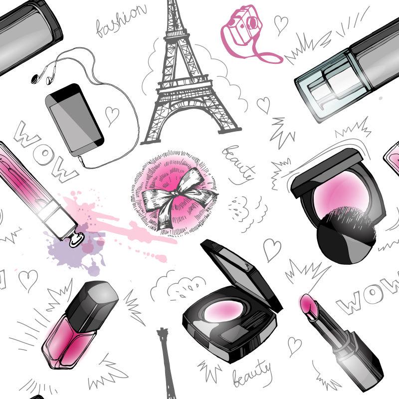 矢量时尚化妆品元素背景设计