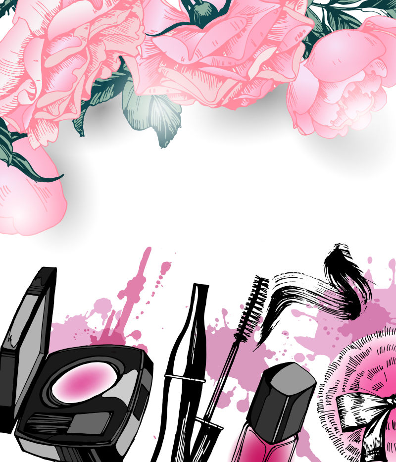 抽象矢量彩色时尚化妆品设计插图