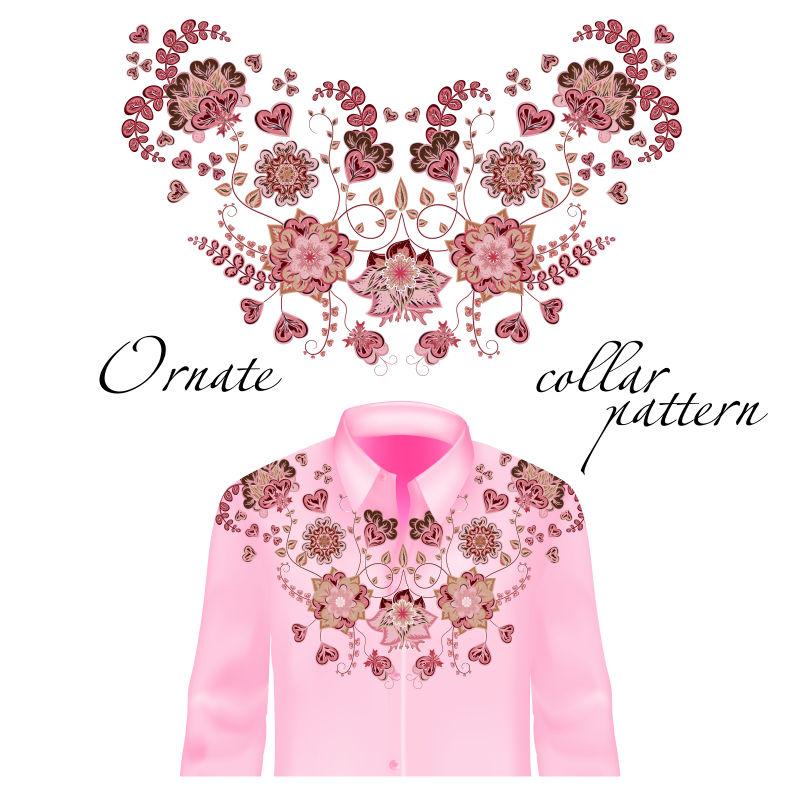 矢量衬衫绣花装饰设计