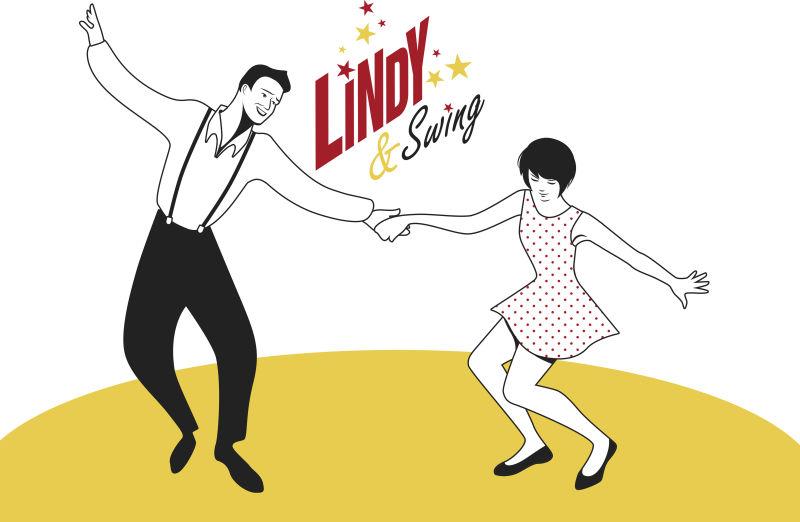 抽象矢量跳爵士舞的演员平面插图