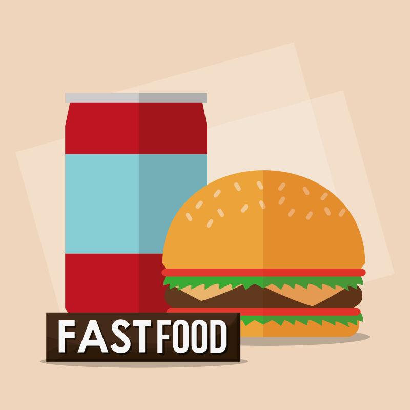 矢量快餐汉堡与汽水