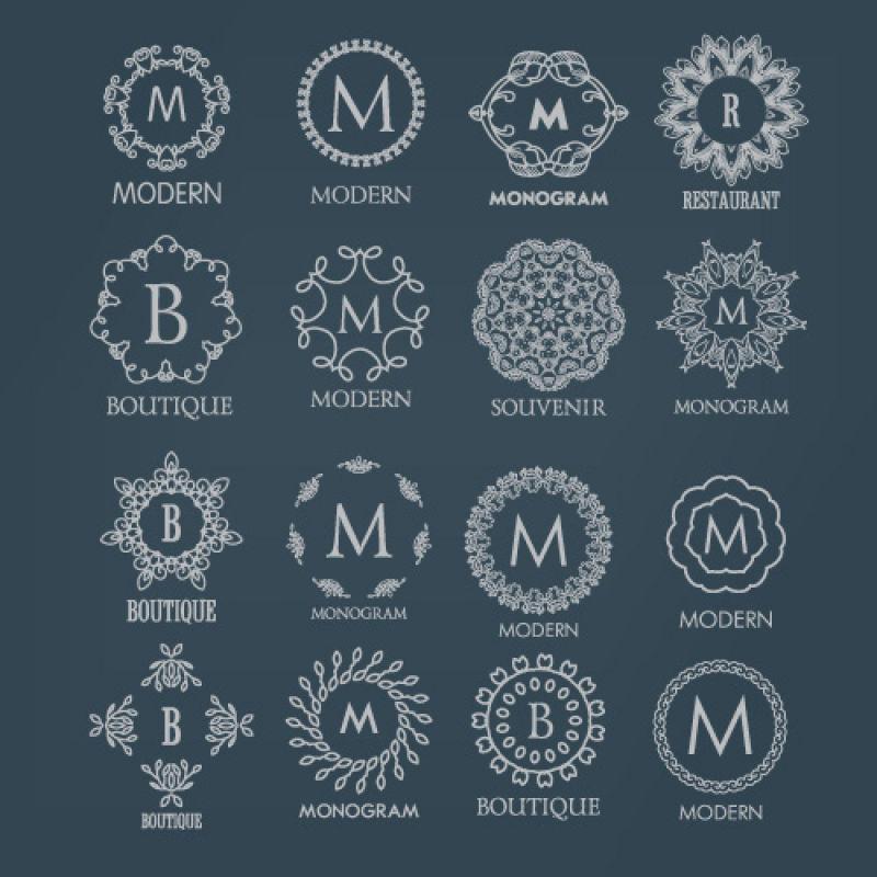 矢量不同框架装饰的字母B与Mlogo设计