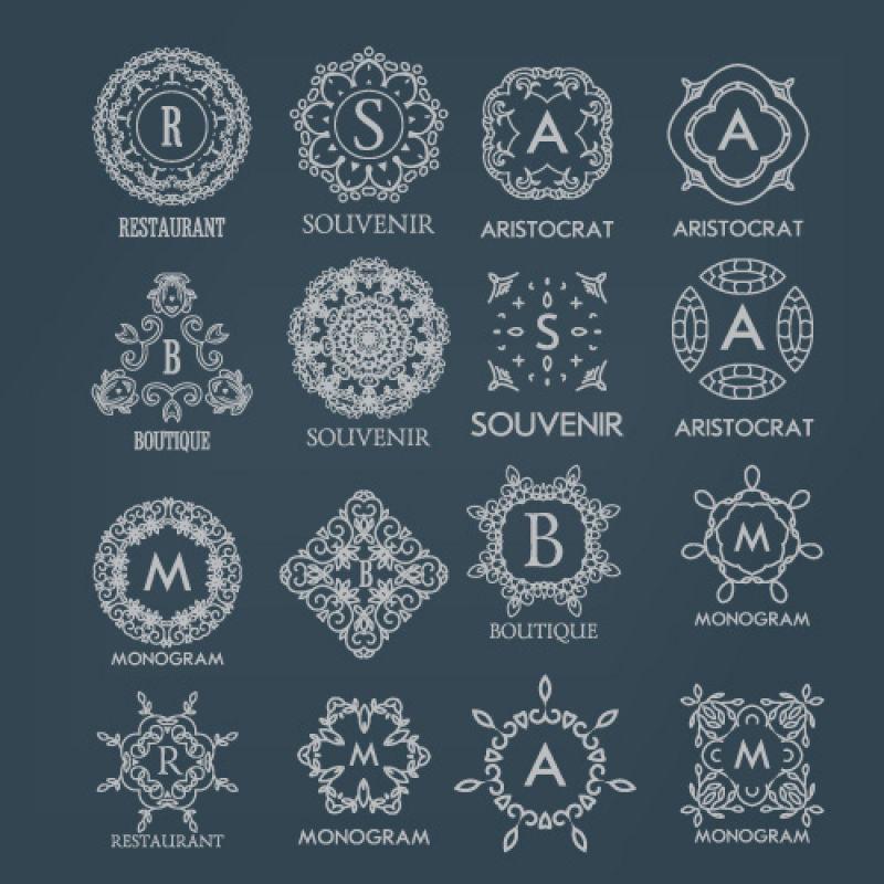 矢量字母花环装饰的logo