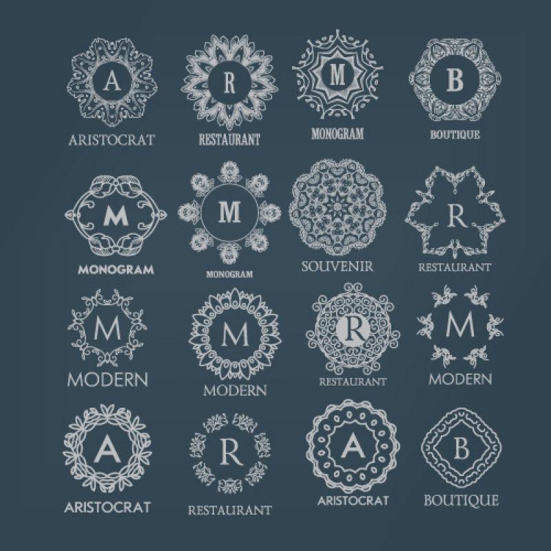 矢量白色的字母花环logo设计