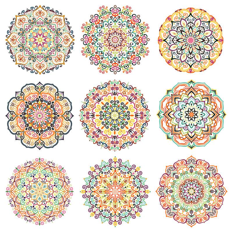 创意矢量美丽曼陀罗装饰设计图案