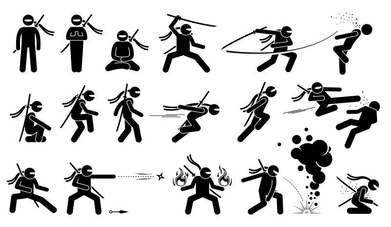 创意矢量忍者简易插图