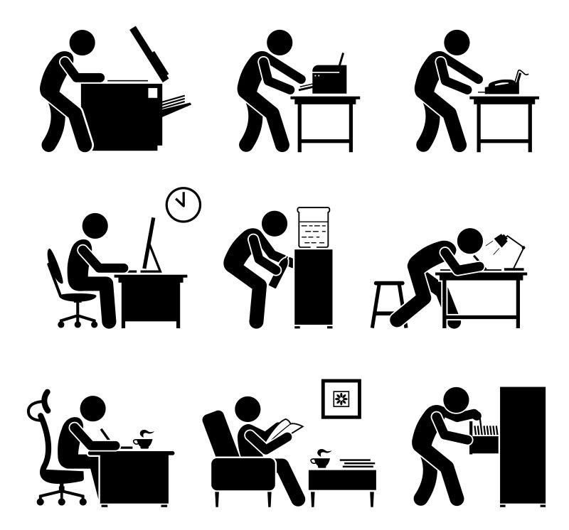 创意矢量黑色的职工简易插图