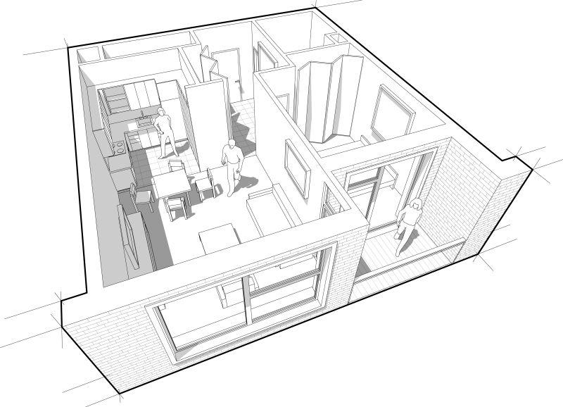 矢量抽象现代室内设计透视插图