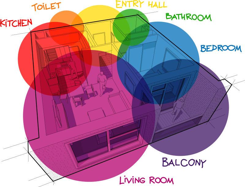 创意矢量颜色分区的室内设计插图