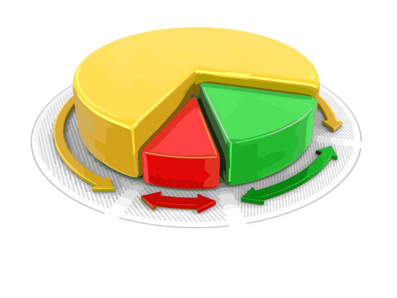 抽象矢量彩色立体信息饼图