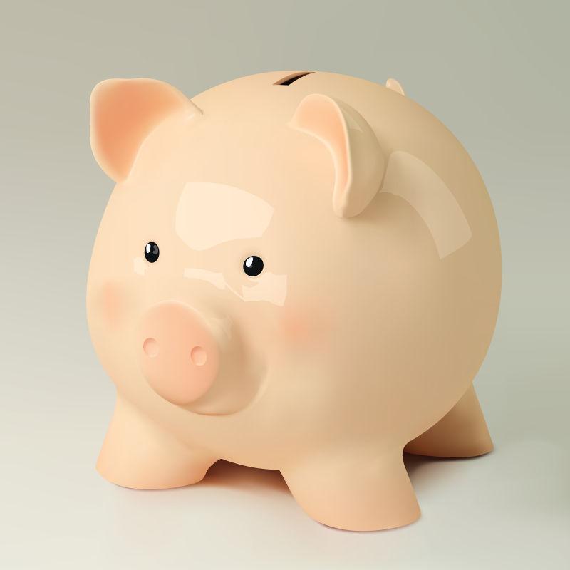 矢量一只瓷质的小猪存钱罐插图