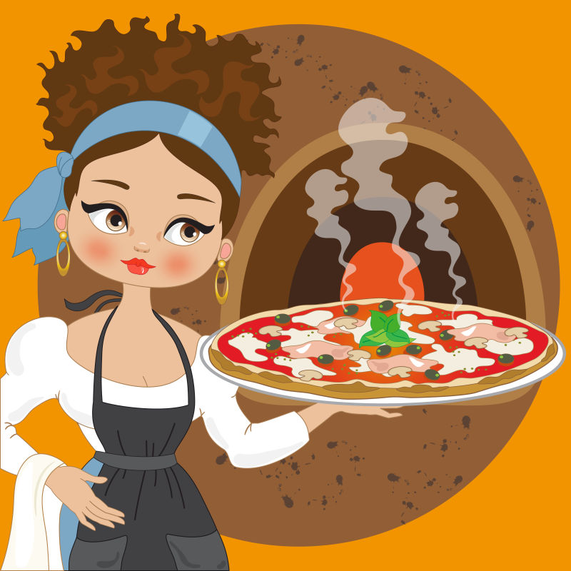 矢量卡通美女端着的披萨饼