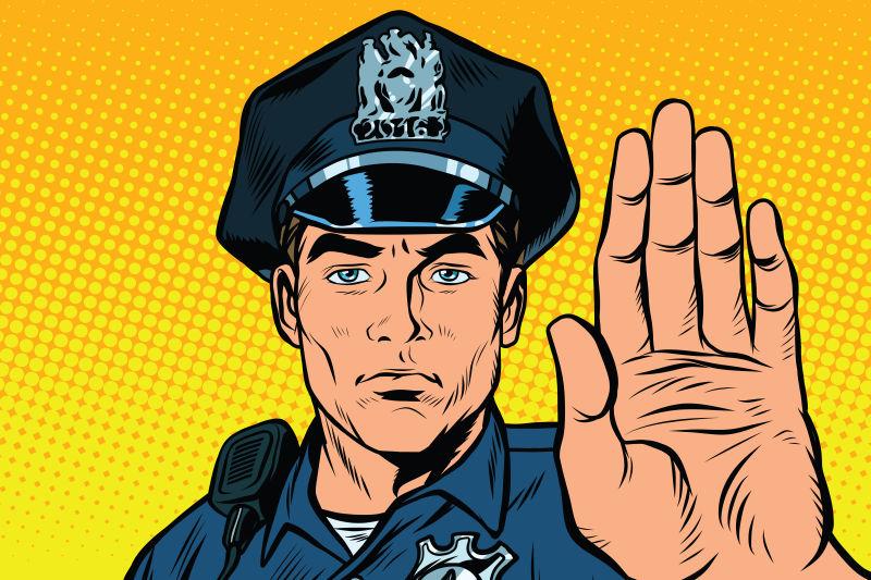矢量抽象卡通警察插图