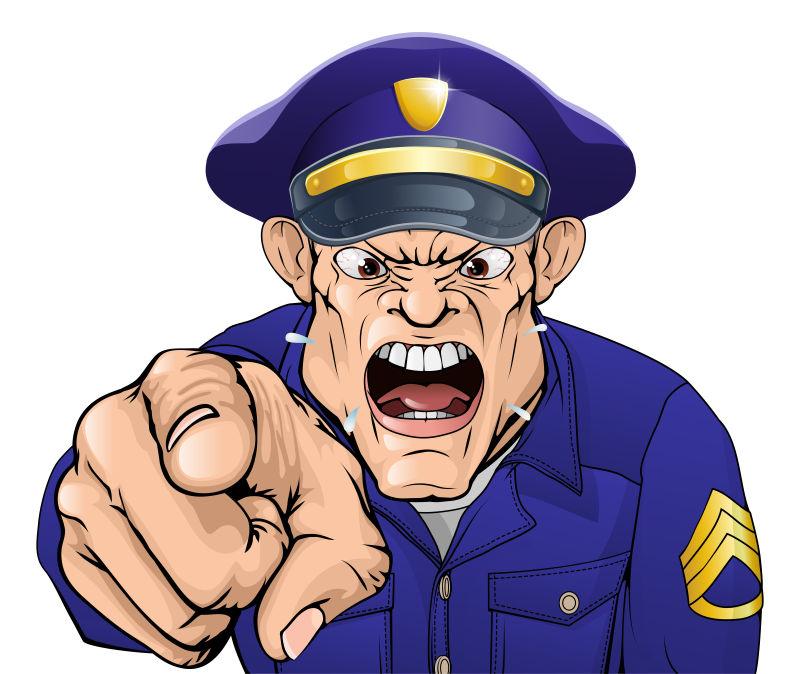 创意矢量卡通愤怒的警察插图