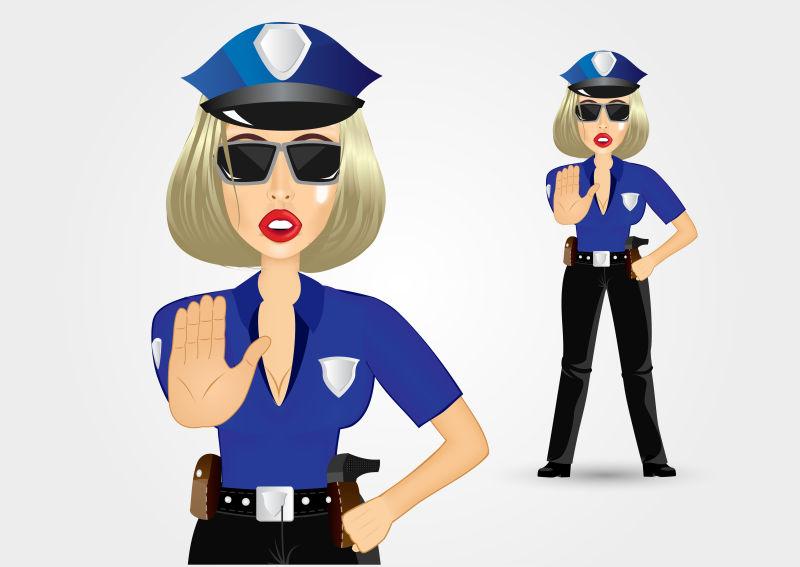 抽象矢量卡通女警察插图