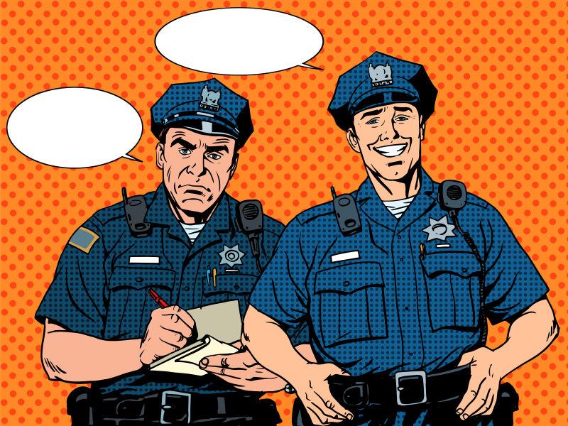 抽象矢量卡通风格的警察插图