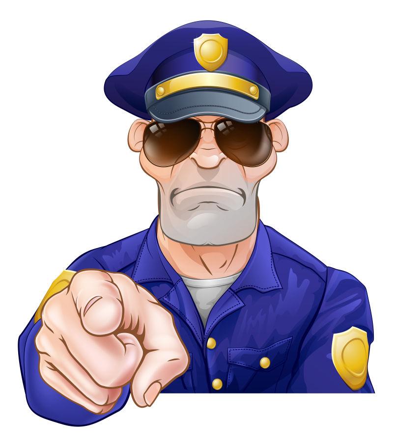 抽象矢量作指示的警察卡通插图