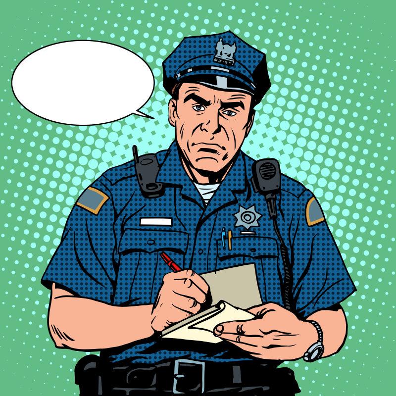 抽象矢量询问问题的警车卡通插图