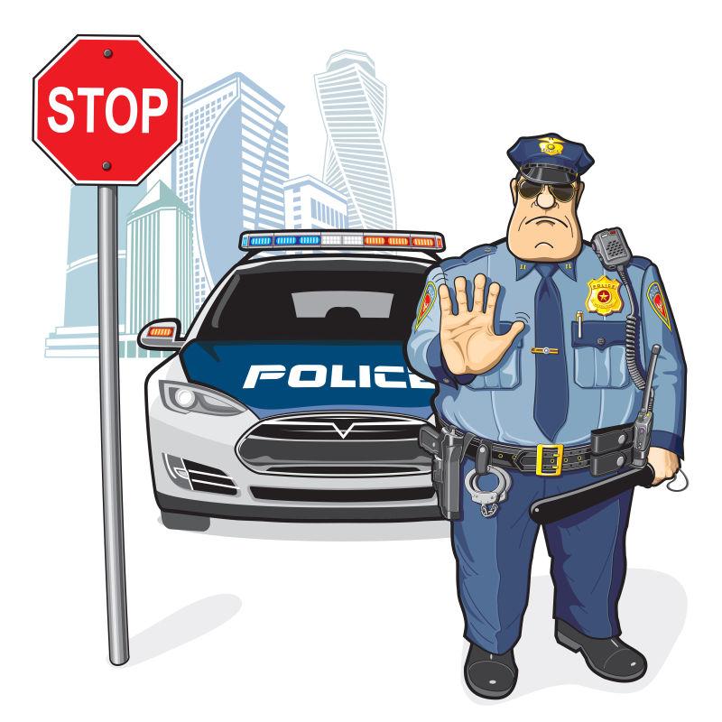矢量抽象卡通警车和警察插图
