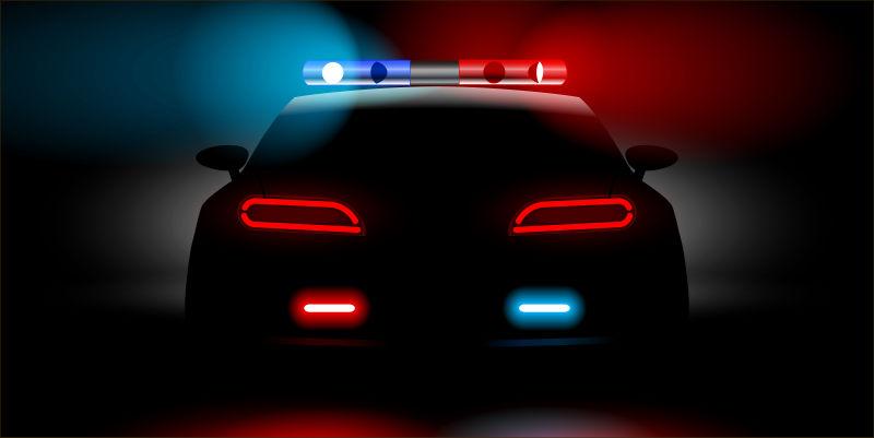 抽象矢量卡通警察的车子插图