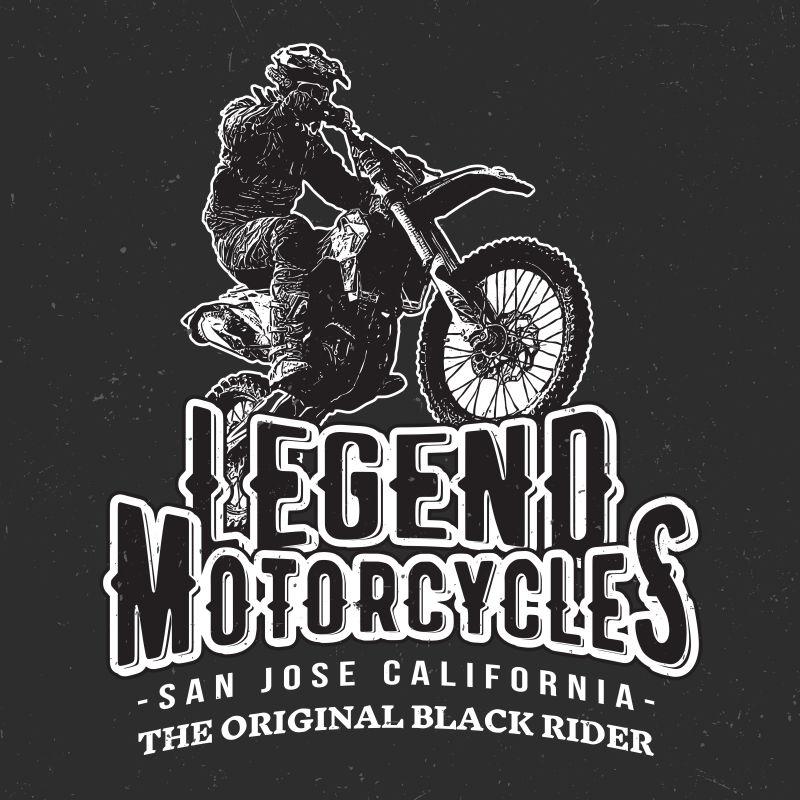 复古摩托车赛车手插图矢量设计