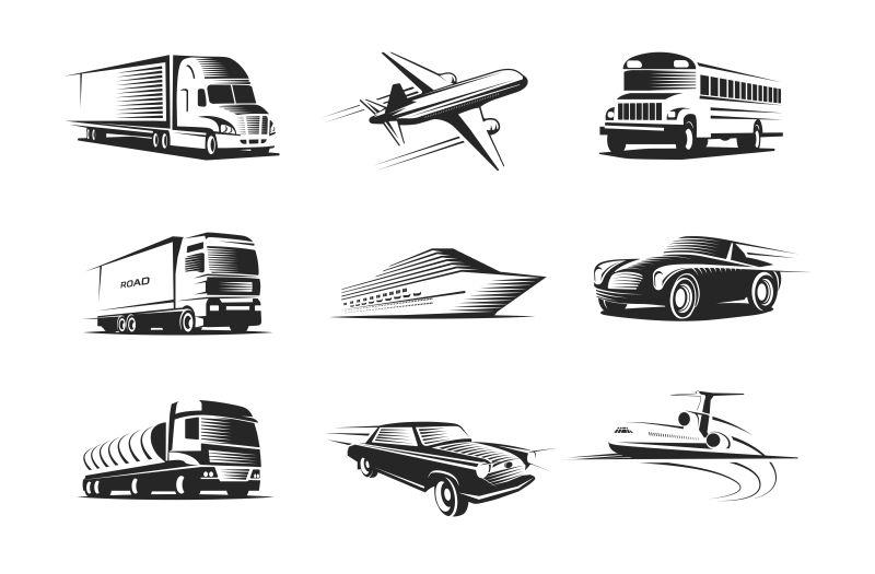 矢量创意单色风格的交通运输工具插图