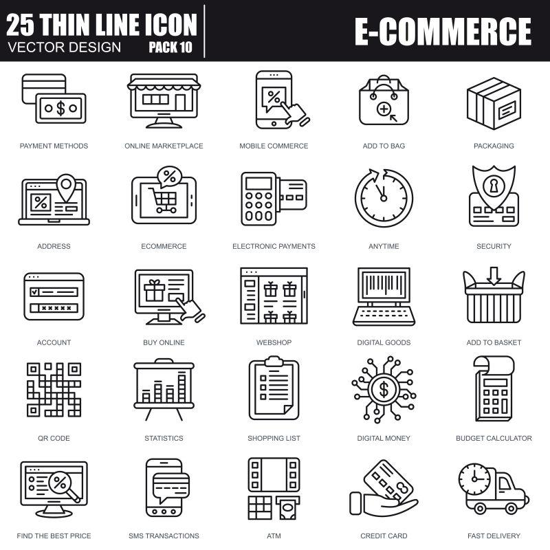 创意矢量现代电子商务主题线性图标设计