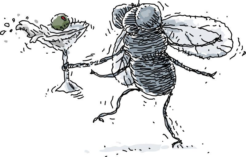 抽象矢量卡通喝醉的蚊子插图