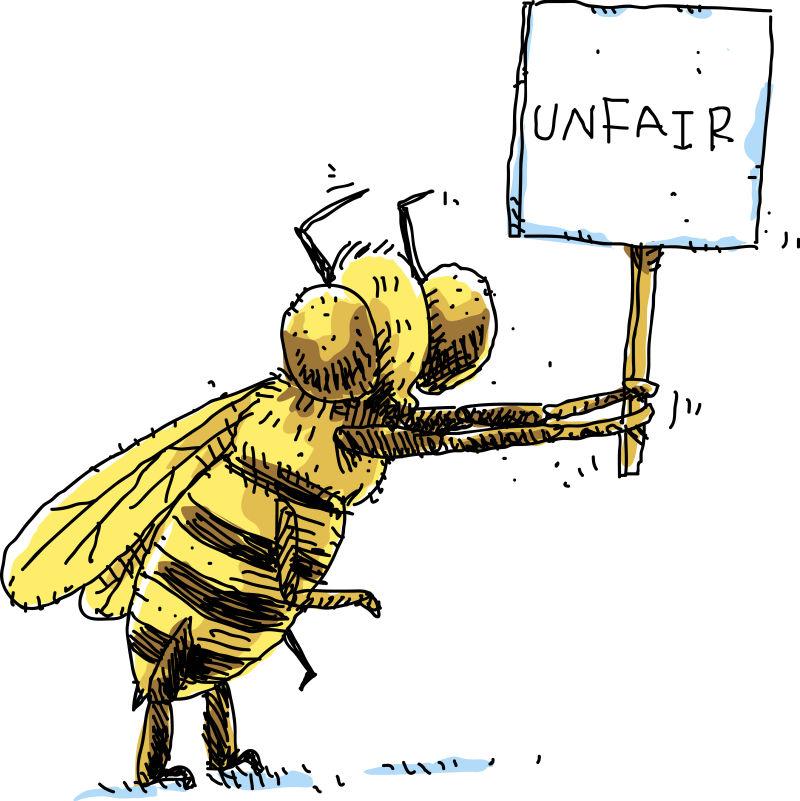 创意矢量不公平示意的苍蝇卡通插图