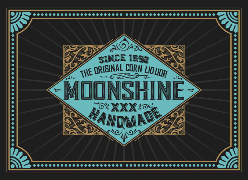 创意矢量威士忌标签设计插图
