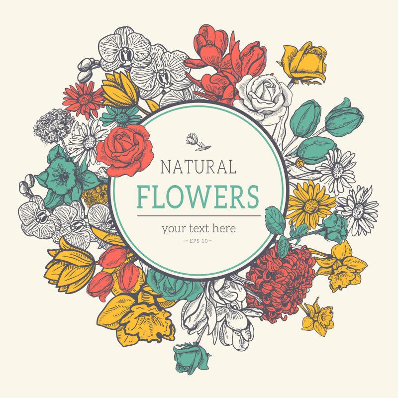 矢量的花卉图案标签设计