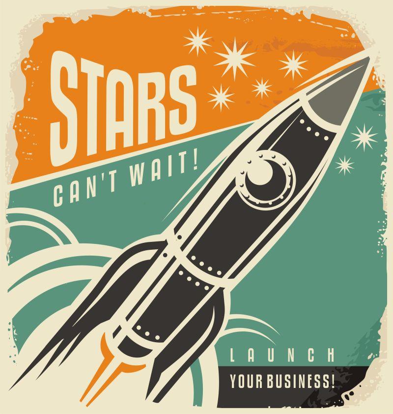 创意矢量火箭元素的复古海报设计