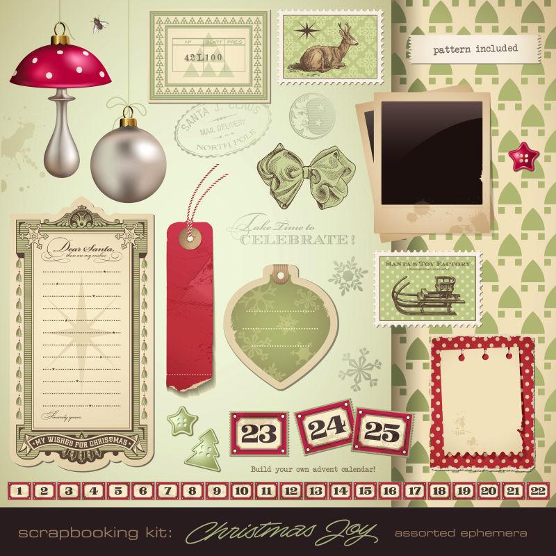 抽象矢量复古圣诞快乐标签设计