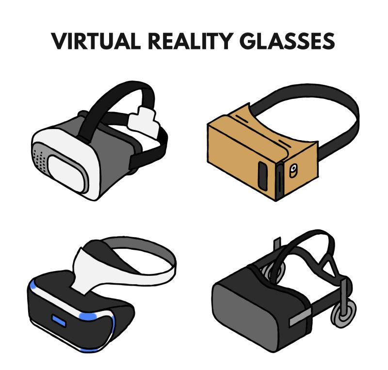 矢量虚拟现实眼镜在白色背景下的卡通风格