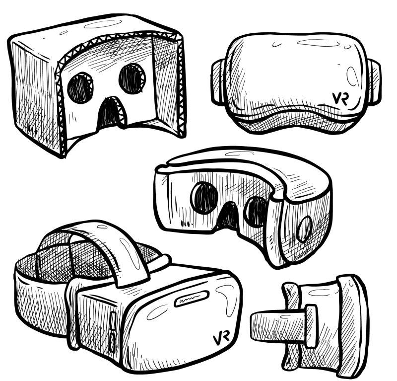抽象矢量手绘虚拟眼镜插图